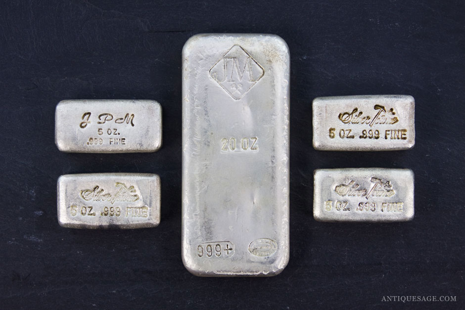 Stacked Wealth Vintage Silver Bullion Bars Antique Sage