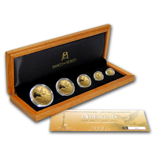 2016 Mexican 5 Coin Gold Libertad Proof Set Antique Sage
